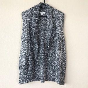 CJ Banks Marled Gray Sweater Vest